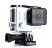 GoPro HERO3 Black Edition isolated on white background. GoPro is a brand of high-definition personal cameras, often used in extreme action video photography. — Stock Photo