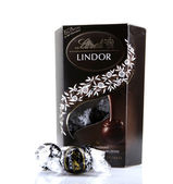 AYTOS, BULGARIA - APRIL 02, 2014: Milk Chocolate LINDOR truffle. Lindt is recognized as a leader in the market for premium quality chocolate. — Stock Photo