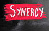 Synergy handwritten with chalk on a blackboard — Stockfoto