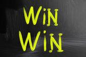 Win win handwritten with chalk on a blackboard — Stock Photo