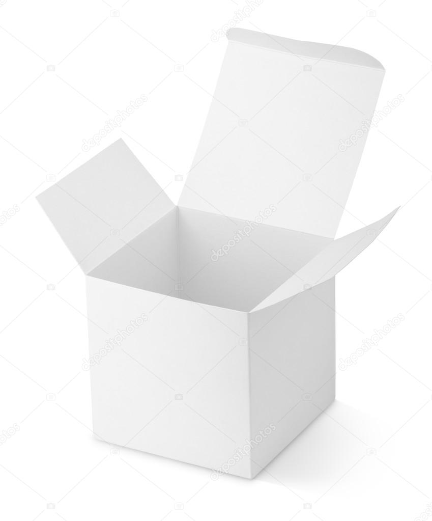 Opened cardboard box isolated on white background — Stock Photo #13282134