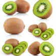 Set of kiwi fruits with slices — Stock Photo