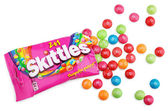 Unwrapped Skittles candy — Stock Photo