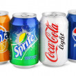 Group of various soda drinks in aluminum cans isolated on white — Stock Photo #18538825