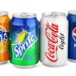 Group of various soda drinks in aluminum cans isolated on white — Stock Photo