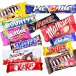 Stock Photo: Closeup of various chocolate bars on white