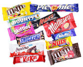 Closeup of various chocolate bars on white — Stock Photo