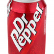 Aluminum red can of Dr Pepper - Stock Photo