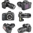 Set of modern digital SLR cameras — Stock Photo
