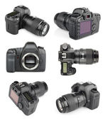 Set of modern digital SLR cameras — Stock Photo