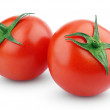 Two fresh red tomatoes on white — Stock Photo
