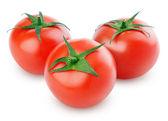 Three fresh red tomatoes on white — Stock Photo