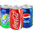 Постер, плакат: Group of various soda drinks in aluminum cans isolated on white