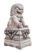 Chinese Stone Lion sculpture on white — Stock Photo
