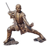 Shaolin warriors monk bronze statue — Stock Photo