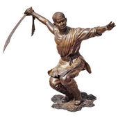 Shaolin warriors monk bronze statue — Stock Photo