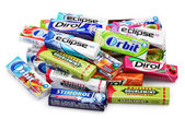 Heap of various brand chewing or bubble gum — Stock Photo
