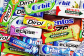 Many various colorful chewing or bubble gums — Stock Photo