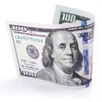Hundred dollar bill on white — Stock Photo