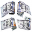 Set of 100 dollar banknotes on white — Stock Photo #50781287