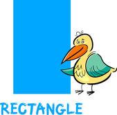 Rectangle shape with cartoon bird — Stock Vector