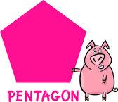 Forma de pentágono com porco dos desenhos animados — Vetor de Stock
