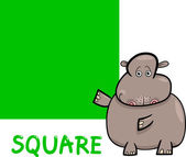Square shape with cartoon hippo — Stock Vector