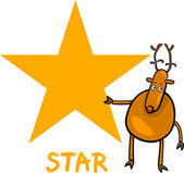 Star shape with cartoon deer — Stock Vector