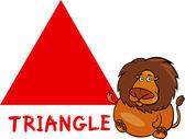 Triangelform mit cartoon-löwen — Stockvektor