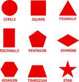 Temel geometrik şekiller açıklamalı alt yazılı — Stok Vektör