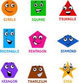 Formas geométricas básicas con caras de dibujos animados — Vector de stock