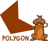 Polygon shape with cartoon hamster — Stock Vector