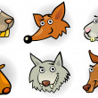 Cartoon forest animals heads set - ベクター素材ストック