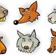 Cartoon forest animals heads set - 图库矢量图片
