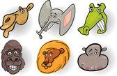 Cartoon wild animals heads set — Stock Vector