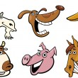 Royalty-Free Stock Vector Image: Cartoon farm animals heads set