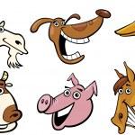 Cartoon farm animals heads set — Stock Vector #12207947