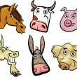 Cartoon farm animals heads set — Stock Vector