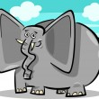 Funny elephants cartoon against sky — Stock Vector