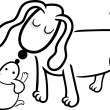 Puppy and dog mom for coloring — Stock Vector