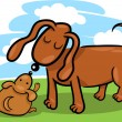 Royalty-Free Stock Vector Image: Puppy and his dog mom cartoon