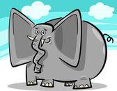 Funny elephants cartoon against sky — Stock Vector