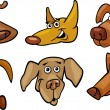 Cartoon funny dogs heads set — Stock Vector