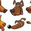 Cartoon funny dogs heads set - Vektorgrafik