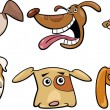 Cartoon funny dogs heads set — Stock Vector #12311278