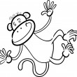 Funny monkey for coloring book - Stock Vector