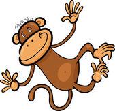 Cartoon illustration of funny monkey — Stock Vector