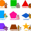 Basic Geometric Shapes with Cartoon Animals - Vettoriali Stock 