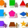 Basic Geometric Shapes with Cartoon Animals - 图库矢量图片