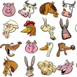 Stock Vector: Cartoon farm animals heads huge set
